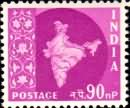 3rd Series-B (1958-1963) Map of India - Ashokan Watermark